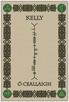 Poster featuring the digital art Kelly Written In Ogham by Ireland Calling