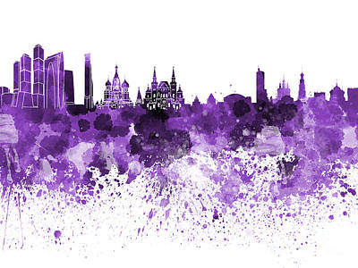 Moscow Skyline White Background Poster
