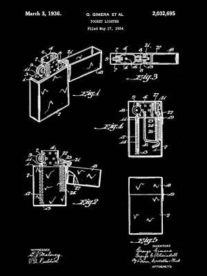 Pocket Lighter Patent 1934 - Black Poster by Stephen Younts
