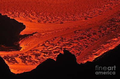 River Of Molten Lava Flowing To The Ocean Poster by Sami Sarkis
