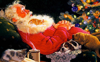 Sleeping Santa Claus Poster by Doc Braham