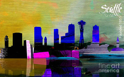 Seattle Skyline Watercolor Poster by Marvin Blaine