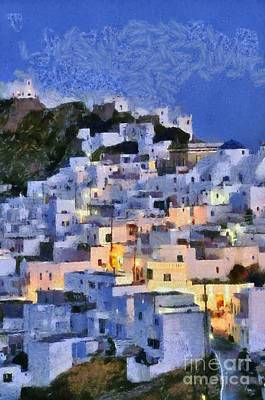 Serifos Town During Dusk Time Poster by George Atsametakis