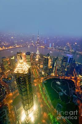 Shanghai Pudong Skyline Poster by Fototrav Print