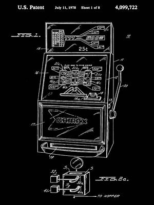 Slot Machine Patent 1978 - Black Poster by Stephen Younts