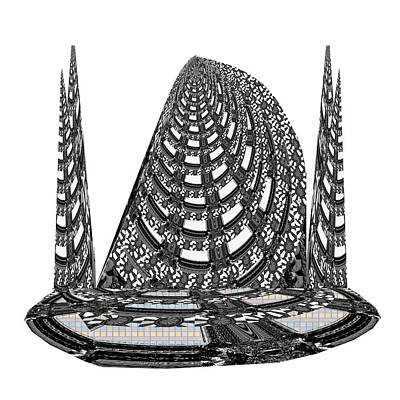 Sparkle Bnw White Pyramid Dome Ancient Arch Architecture Formation Obtained During Deep Meditation W Poster by Navin Joshi
