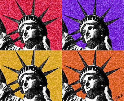 4 Starry Night Statue Of Liberty Print Poster