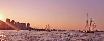 Sun Setting Over Boston Series Poster by Laura Lee Zanghetti