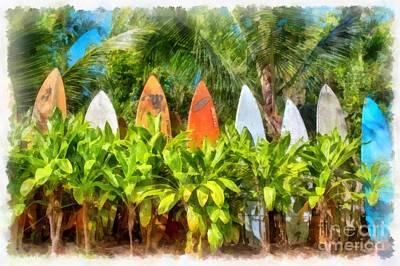 Surf Board Fence Maui Hawaii Poster by Edward Fielding