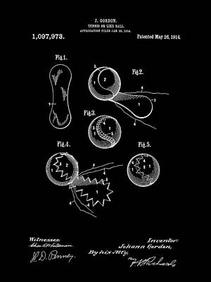 Tennis Ball Patent 1914 - Black Poster