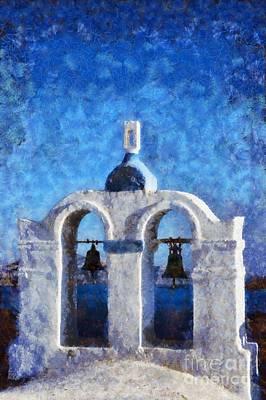 Traditional Belfry In Santorini Island Poster