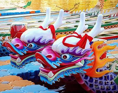 Traditional Dragon Boats In Taiwan Poster by Yali Shi