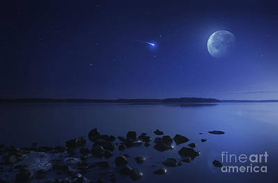 Tranquil Lake Against Starry Sky, Moon Poster by Evgeny Kuklev