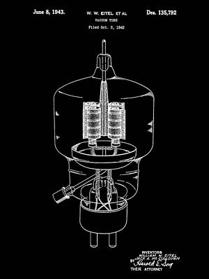 Vacuum Tube Patent 1942 - Black Poster by Stephen Younts