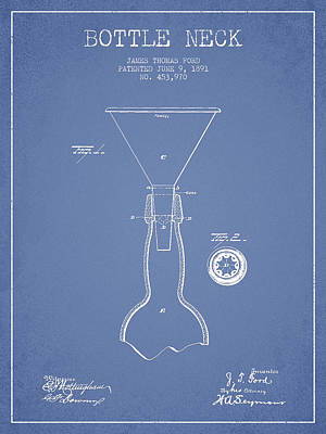 Vintage Bottle Neck Patent From 1891 Poster