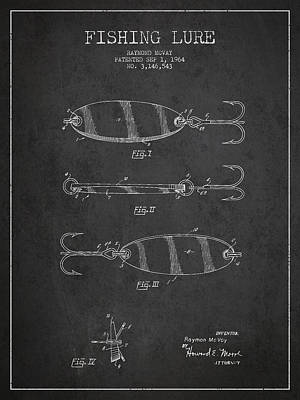 Vintage Fishing Lure Patent Drawing From 1964 Poster by Aged Pixel