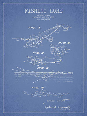 Vintage Fishing Lure Patent Drawing From 1969 Poster