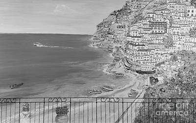 Poster featuring the painting Vista Su Positano by Loredana Messina
