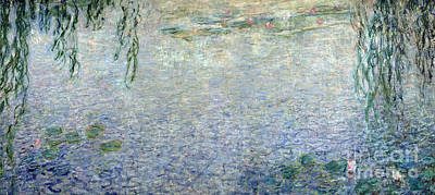 Waterlilies Morning With Weeping Willows Poster by Claude Monet