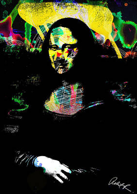 42x60 Mona Lisa Screwed - Huge Signed Art Abstract Paintings Modern Www.splashyartist.com Poster by Robert R Splashy Art Abstract Paintings