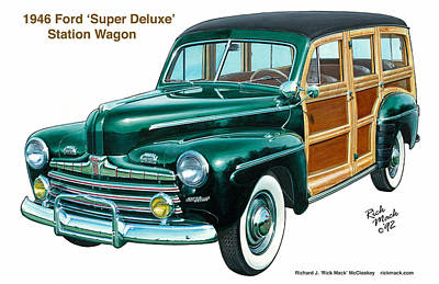 '46 Ford 'super Deluxe' Station Wagon Poster by Richard McCloskey