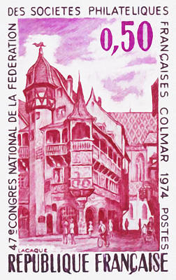 47th National Congress Of The Federation Of French Company Stamp Colmar 1974 Poster by Lanjee Chee
