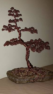 #48 Copper Wire Tree Sculpture On A Rock Poster by Ricks  Tree Art