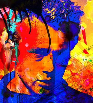 48x43 James Dean Hollywood Star - Huge Signed Art Abstract Paintings Modern Www.splashyartist.com Poster