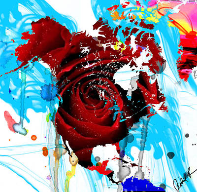 48x46 Beautiful World - Rose Red Signed Art Abstract Paintings Modern  Www.splashyartist.com Poster