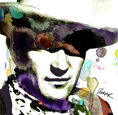 48x46 Huge John Wayne - Signed Art Abstract Paintings Modern Www.splashyartist.com Poster by Robert R Splashy Art Abstract Paintings