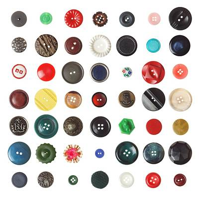 49 Buttons Poster by Jim Hughes