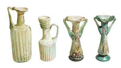 4th Century Glass Juglets And Bottles Poster by Photostock-israel