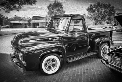 1953 Ford F100 Pickup Truck Bw  Poster by Rich Franco