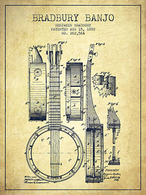 Banjo Patent Drawing From 1882 - Vintage Poster