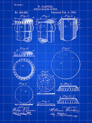Bottle Cap Patent 1892 - Blue Poster by Stephen Younts