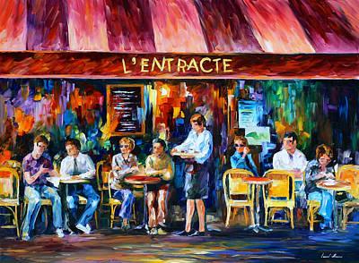Cafe In Paris Poster by Leonid Afremov