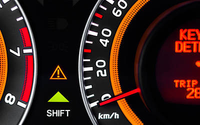 Car Speed Meter Closeup Poster by Oliver Sved