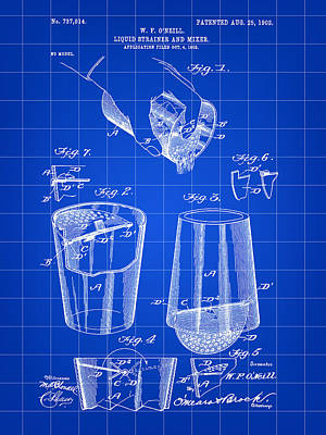 Cocktail Mixer And Strainer Patent 1902 - Blue Poster by Stephen Younts