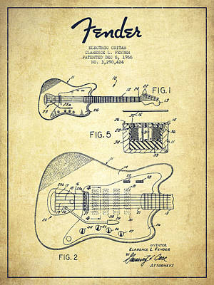 Fender Electric Guitar Patent Drawing From 1966 Poster by Aged Pixel