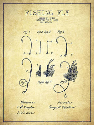 Fishing Fly Patent Drawing From 1892 Poster