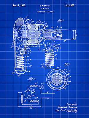Hair Dryer Patent 1929 - Blue Poster by Stephen Younts
