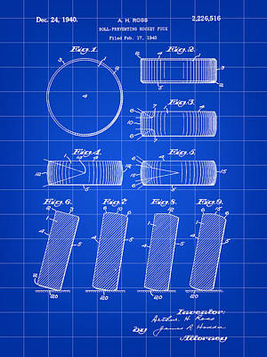 Hockey Puck Patent 1940 - Blue Poster