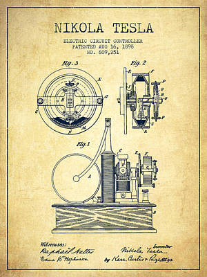 Nikola Tesla Electric Circuit Controller Patent Drawing From 189 Poster