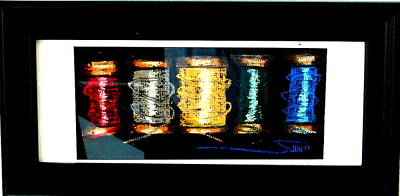 Poster featuring the drawing 5 Spools by Joseph Hawkins