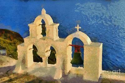 Sunset Behind A Belfry In Santorini Island Poster