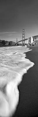 Suspension Bridge Across A Bay, Golden Poster