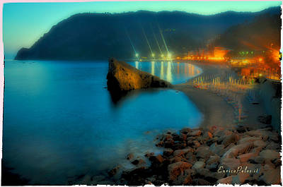 Poster featuring the mixed media 5 Terre Monterosso Beach In Passeggiate A Levante by Enrico Pelos