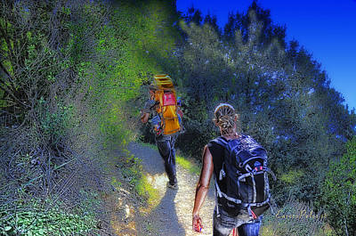 Poster featuring the mixed media 5 Terre Monterosso Trekking In Passeggiate A Levante by Enrico Pelos