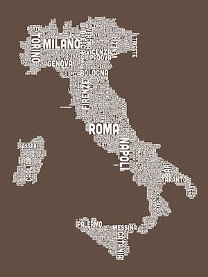 Text Map Of Italy Map Poster by Michael Tompsett