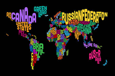 Text Map Of The World Map Poster by Michael Tompsett